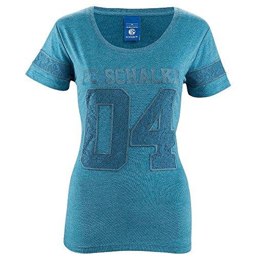 FC Schalke 04 T-Shirt Damen 04 petrol, Größenauswahl:XL