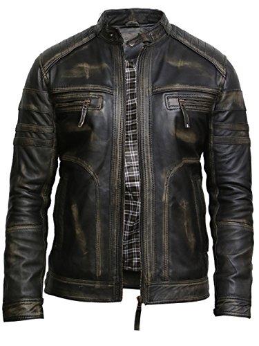 BRANDSLOCK Herren Schwarzes Warmes Leder Biker Jacke Vintage Retro Distressed Lederjacke (L, Schwarz)