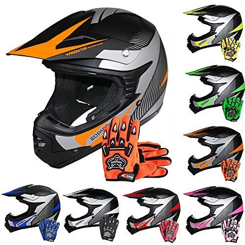 Leopard LEO-X19 {Kinder Motorrad Helm M(51-52cm) + Handschuhe M-6cm} Orange Kinder Motocrosshelme Mädchen Jungen Dirt Bike Fullface MX Helm