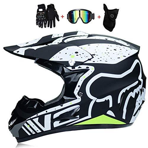 SK-LBB Motorrad helm Motocross Helme City Helme BMX Helme Motorrad Crosshelme, Kreative Persönlichkeit Lokomotive Mountainbike Helm, Handschuhe maske Brille (Set von 4) (M)