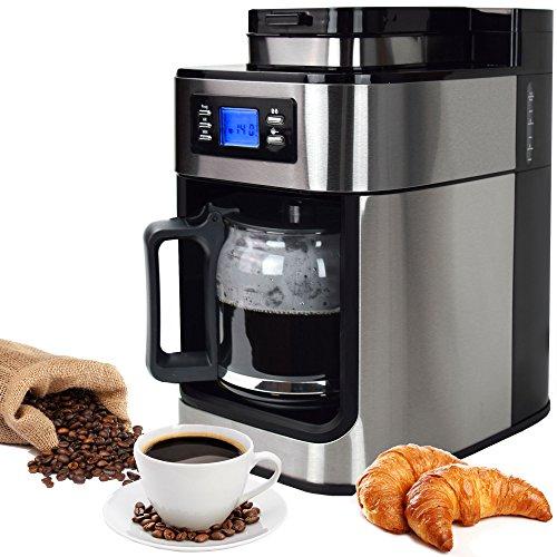 Syntrox Germany KM-1050W Inox-MW Edelstahl Kaffeemaschine Kaffeeautomat mit Mahlwerk Mühle Timer