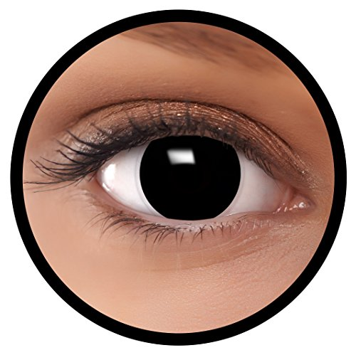 Farbige Kontaktlinsen schwarz Hexe + Behälter, weich, ohne Stärke in schwarz als 2er Pack (1 Paar)- angenehm zu tragen und perfekt für Halloween, Karneval, Fasching oder Fastnacht Kostüm