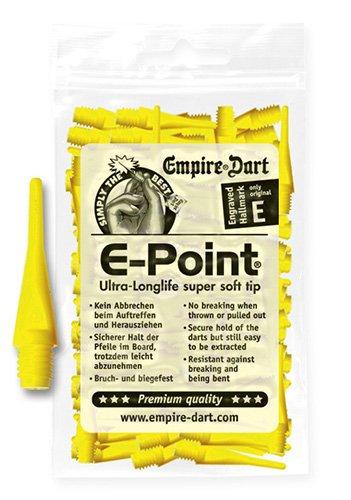 Empire Dart Softdartspitzen, E-Point, 2BA, kurz, gelb, 100 Stück, 20686