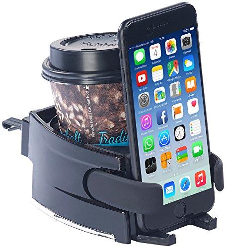 Lescars Getränkehalter Auto: 2in1-Getränke- und Smartphone-Halterung für Kfz-Lüftungsgitter (Auto Becherhalter)