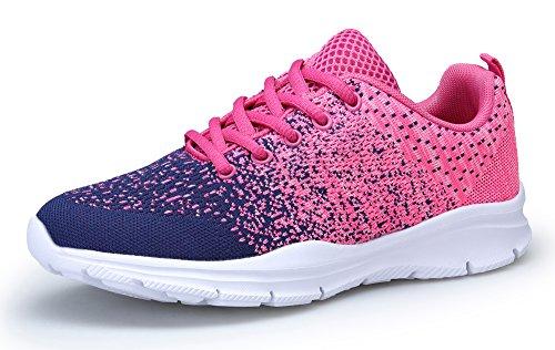 KOUDYEN Laufschuhe Atmungsaktiv Turnschuhe Schnürer Sportschuhe Sneaker für Herren Damen,XZ746-W-pinkblue-EU38