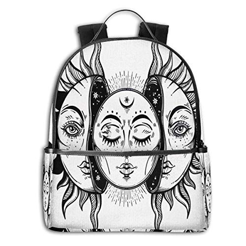 Rucksäcke Taschen Daypacks Wanderrucksäcke, College Backpacks for Women Girls,Monochrome Sun and Moon Pattern Oriental Image Asian Culture Inspired Design Print,Casual Hiking Travel Daypack