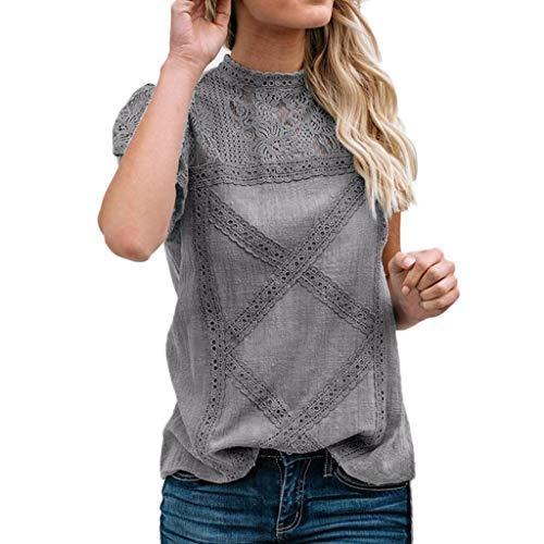 TITIU Damen Spitze Patchwork Flare Rüschen Kurzarm Cute Floral Shirt Bluse Top Oberteil(Grau,XXL)