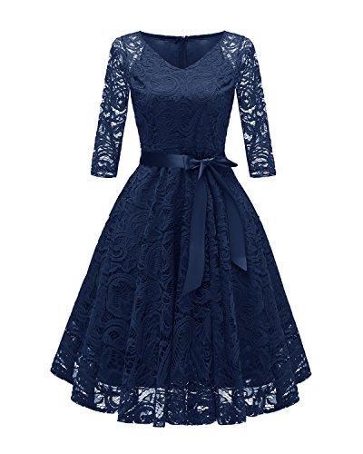 Laorchid Vintage Damen Kleid 3/4 Ärmel Floral Spitzenkleid Swing Cocktailkleid Navy S