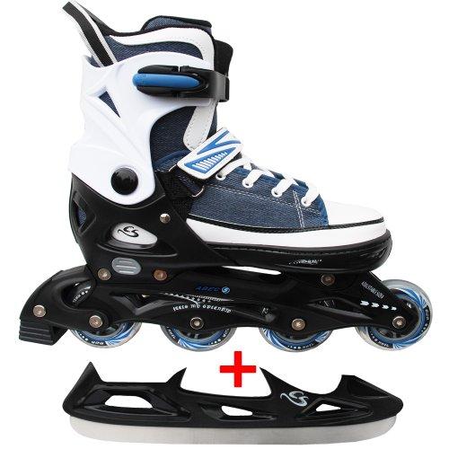 Cox Swain Sneak Kinder Inline Skates & Kinder Schlittschuh 2 in 1 - größenverstellbar ABEC5, Blau, S (33-36)