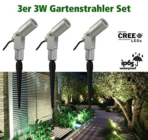 VBLED® 3W Gartenstrahler Gartenleuchte Komplettset 3000K Warmweiß IP68 12V inkl. Netzteil und Verbindungsstecker [EEK A+]