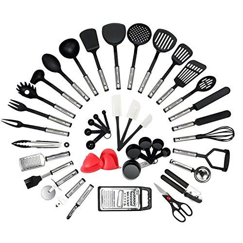 NEXGADGET Küchenhelfer Set, 42 Stücke Küchenzubehör Kochgeschirr Set aus Edelstahl & Nylon, Küchenutensilien Inkl. Löffel, Turners, Tongs, Schneebesen, Dosenöffner, Schäler, Schaber, Messbecher usw.