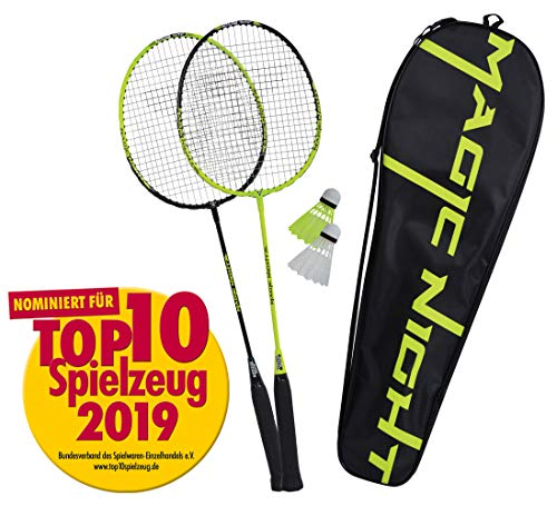 Talbot Torro Badminton-Set Magic Night, 2 Schläger, 2 LED Federbälle für das Spiel bei Nacht, in wertiger Tasche, 449405
