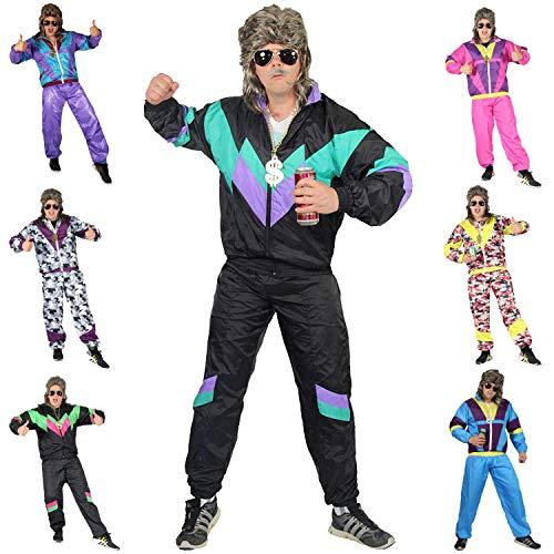 Foxxeo 80er Jahre Kostüm für Erwachsene Premium 80s Trainingsanzug Assianzug Assi - Herren Größe S-XXXXL - Fasching Karneval Anzug, Farbe schwarz-grün-lila, Größe: L