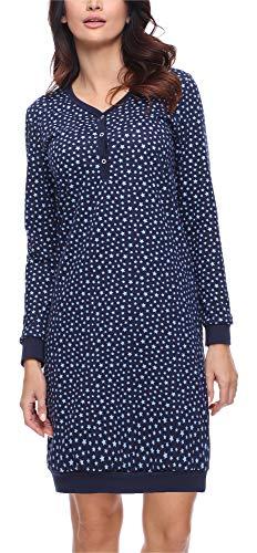 Merry Style Damen Nachthemd MS10-179 (Marine Sterne, XL)