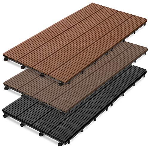 casa pura WPC Terrassenfliesen Prestige | Terrassendielen 60x30 cm | klick Fliese in Holz Optik | Testnote GUT | einzeln oder im Set | anthrazit (1 Stück)