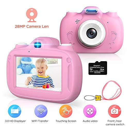Kinderkamera, 28MP HD Video-Digitalkamera für Kinder, 3,0 Zoll IPS HD 1080P Touchscreen & Unterstützt WiFi/Kleine Spiele,Geburtstagsgeschenk für Junge Mädchen im Alter von 3-12 (Rosa)