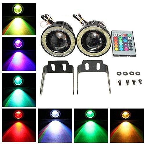 KaTur 2High Power 6,3cm Projektor Universal RGB LED Nebelscheinwerfer, weiß, COB Halo Angel Eye Ringe DRL Fahrleuchtmittel
