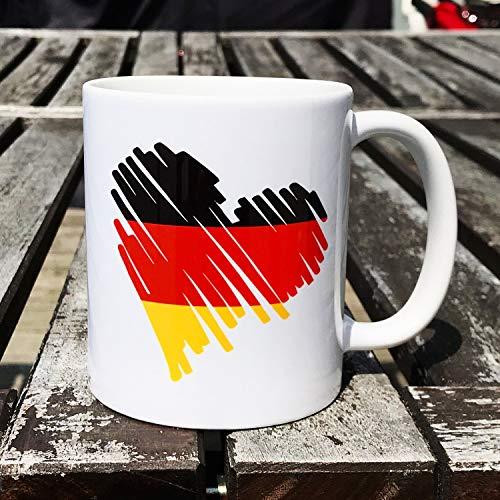 Cadouri - Kaffeetasse DEUTSCHLAND HERZ Kaffeebecher Trinkbecher - 300 ml