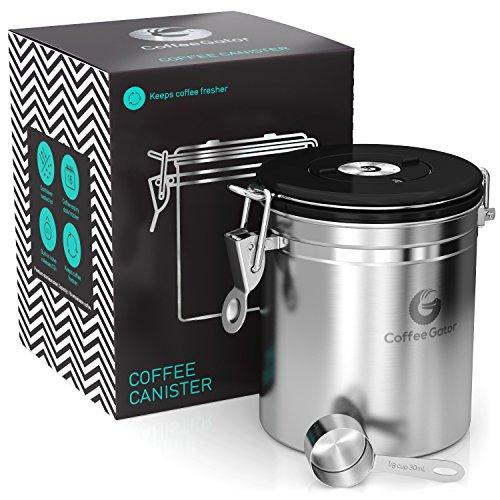 Coffee Gator-Edelstahl-Kaffeedose – Hält gemahlener Kaffee und Bohnen länger frisch – Behälter mit Datumsverfolgung, CO2-Freigabeventil und Messlöffel - Mittel - Edelstahl