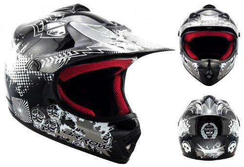 "ARMORHELMETS® AKC-49 ""Black"" · Kinder-Cross-Helm · Motorrad-Helm MX Cross-Helm MTB BMX Cross-Bike Downhill Off-Road Enduro-Helm Moto-Cross Sport Pocket-Bike · DOT Schnellverschluss Tasche M (55-56cm)"