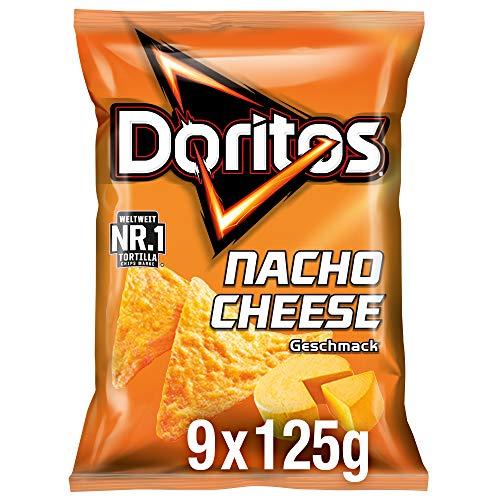 Doritos Nacho Cheese - Käse Tortilla Nachos - Herzhafter Snack zum Knabbern aus Mais - 9 x 125g