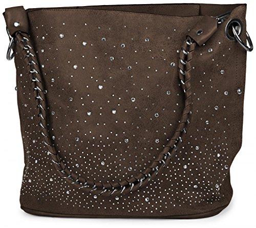 styleBREAKER Handtaschen Set mit Strass Applikation im Sternenhimmel Design, 2 Taschen 02012013, Farbe:Dunkelbraun