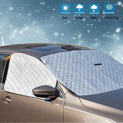 ZATOOTO Frontscheibenabdeckung Auto Winter, Frostschutz Auto Frontscheibe, Eisschutz, Windschutzscheiben Schutz mit Seitenfensterabdeckung, Verhindern Sonne UV, Staub, Ultra Stark, Wasserdicht