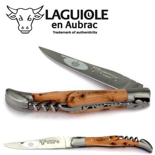 Laguiole en Aubrac Taschenmesser mit Korkenzieher L0312GEIF 12 cm, Griffschalen Wacholder, Klinge 10 cm matt, Backen matt