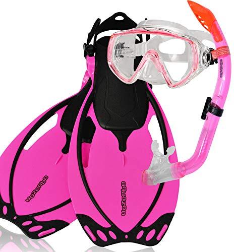 AQUAZON Miami Schnorchelset, Schwimmset, Tauchset, Taucherbrille mit Anti Fog Tempered Glas, Silkon, Semi Dry Schnorchel, verstellbare Flossen für Kinder, Größe:27/31, Farbe:pink