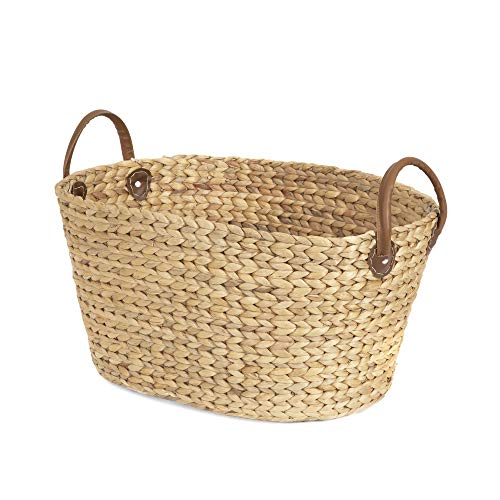 COMPACTOR Wäschekorb aus handgeflochtener Wasserhyazinthe, Oval, Helles Holz, 60x45x37cm, RAN6826