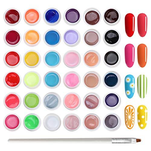 Skymore 36 Farben UV Gel mit 1 Pinsel, Gelnägel Farben, Nail Art UV Gel Farbgel, Gel Nagellack Nail Gel Polish für Nagel-Design
