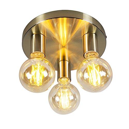 QAZQA Design/Modern Art Deco Deckenlampe Gold/Messing - Facil 3-flammig/Innenbeleuchtung/Wohnzimmerlampe/Schlafzimmer/Küche Stahl Zylinder/Rund LED geeignet E27 Max. 3 x 60 Watt