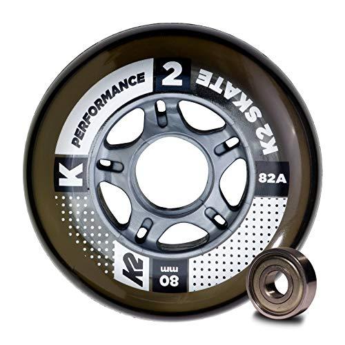 K2 Inline Skates Rollenset 80 mm Performance Wheel / ILQ 7 Ersatzrollen & Kugellager  - Schwarz - 8 Rollen inkl. Kugellager - 30B3009.1.1.1SIZ