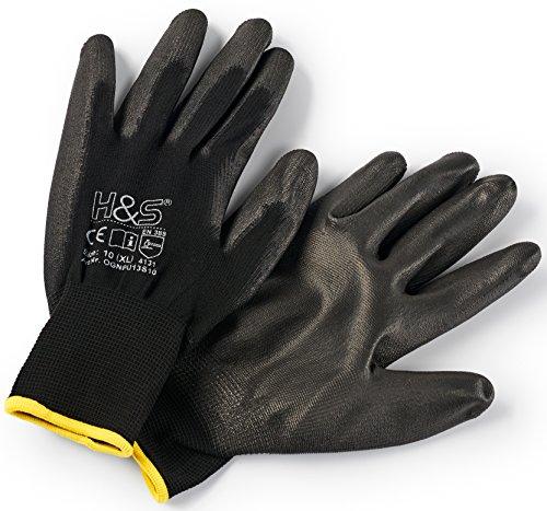 12 Paar Arbeits-Handschuhe von ISC H&S, Nylon, PU-beschichtet | verfügbar in S small (7), M medium (8), L large (9), XL x-large (10), XXL xx.large (11) | nahtlos, vielseitig, schwarz, Größe 9 (L)