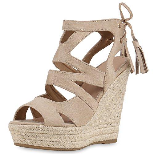 SCARPE VITA Damen Sandaletten Bast Keilabsatz Espadrilles Wedges Schuhe 160581 Creme Quasten 38