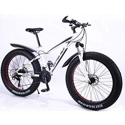 MYTNN Fatbike neues Style 2019 26 Zoll 21 Gang Shimano Fat Tyre Mountainbike 47 cm RH Snow Bike Fat Bike (weiß)
