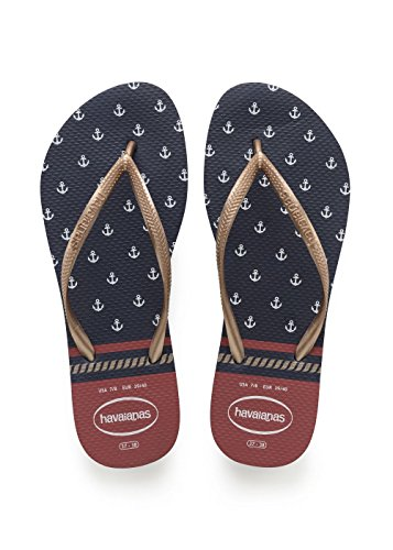 Havaianas Damen Slim Nautical Zehentrenner, Blau (Navy/Red), 35/36 EU