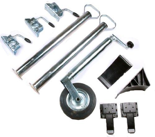 WAMO Anhänger-Set Stützrad und Stützfüße mit Klemmhaltern und Unterlegkeilen