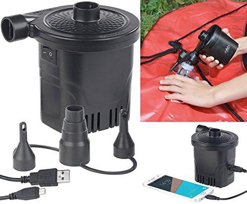 infactory Akku Pumpe: 2in1-Akku-Luftpumpe mit Powerbank-Funktion & USB-Ladekabel, 250 l/Min (Luftballonpumpe)