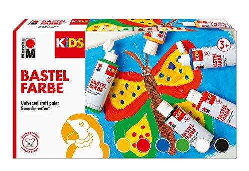 Marabu 0304000000001 - Kids Set 6x 80ml Bastelfarbe für Kinder ab 3 Jahre, parabenfrei, vegan, gut deckend, schnell trocknend auf Papier, Holz, Stein, auswaschbar aus den meisten Textilien bei 30°