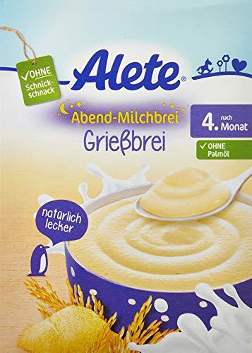 Alete Abend-Milchbrei Grießbrei, ohne Palmöl, Nach dem 4. Monat, 1er Pack (1 x 400g)