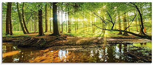 Artland Glasbilder Wandbild Glas Bild einteilig 125x50 cm Querformat Wald Natur Landschaft Bäume Bach Sonne Frühling T9IO