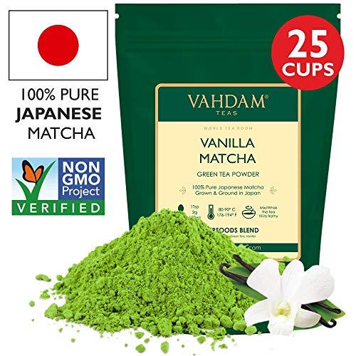 VAHDAM, Vanilla Matcha Grüner Tee   100% REINER japanischer Herkunfts-Matcha-Teepulver   137x ANTI-OXIDANTEN   Grüner Tee zur Gewichtsreduktion und zur täglichen Entgiftung   Japans SUPER FOOD