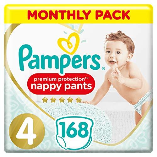 Pampers Premium Protection Windelhose Gr. 4, 168 Windelhosen, 9-15 kg, Monatspackung, sanftes Hautgefühl in Windelhosen, Größe 4168
