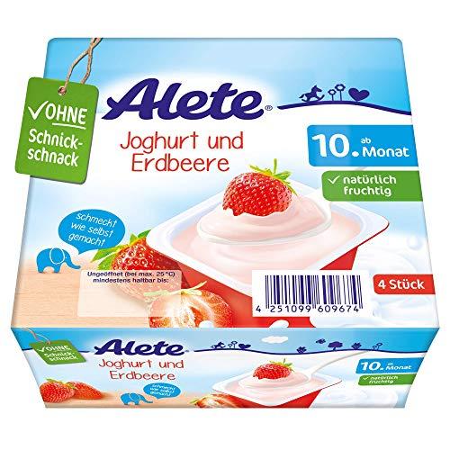 Alete Dessert Joghurt und Erdbeere, ungekühlt haltbar, ohne künstliche Aromastoffe & Palmöl, für Kinder ab dem 10. Monat, 400 g