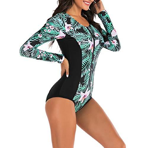 Damen Bauchweg Push Up mit Reißverschluss Strand Badeanzug Einteiler Surfanzug Tauchanzug Badeanzug Langarm Drucken Sonnenschutz Badeanzug