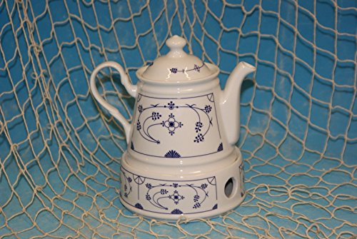 Ocean-Line Set Teekanne mit Stövchen 0,4l Porzellan Indisch Blau/Strohblume