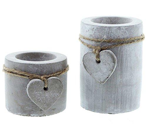 SIDCO Teelichthalter Beton 2 Stück Kerzenhalter Kerzenständer Herz Kerzenleuchter