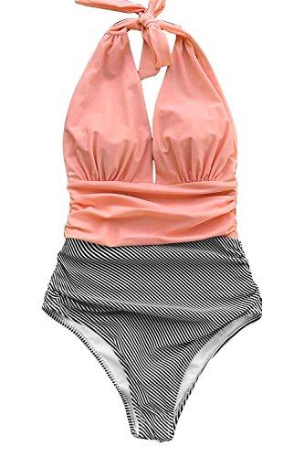 CUPSHE Damen Halten Sie Begleitet Streifen Einteiler Badeanzug Bademode (XS, Pink Schwarz)