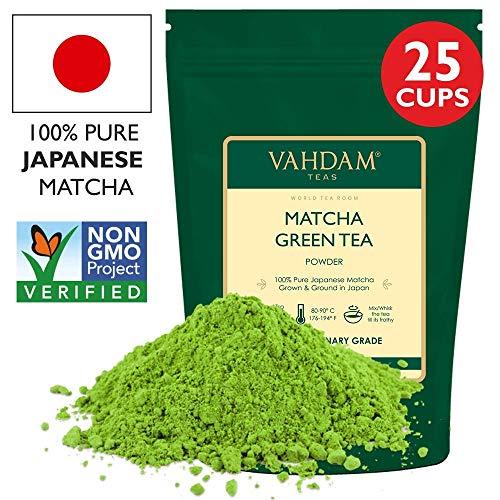VAHDAM, Matcha Grüner Tee   100% REINE japanische Herkunft Matcha Tee Pulver   137x ANTI-OXIDANTEN   Energie-, Fokus- & Stoffwechsel-Booster   Grüner Tee für Gewichtsverlust   Japans SUPER FOOD   50g